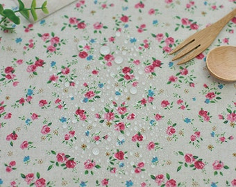Wide Laminated Linen Cotton Fabric,Sewing,Waterproof fabric, picnic mat, waterproof tablecloth,Koreafabric,Priced By the yard.(Le-264)