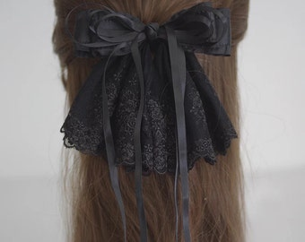 French Lace Hair Bow Barrette, Hair Accessory - black hair bow, large bow