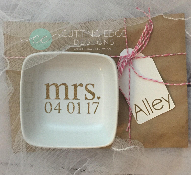 bride gift ring dish custom wedding date wedding wifey