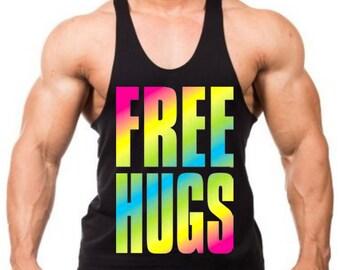 Neon Free Hugs Men's Workout Stringer Tank Top Y Back Black XS-2XL