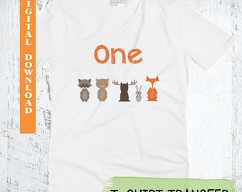 Woodland Forest Friends T-shirt Transfer. Woodland T-Shirt Transfer. Forest Animals T-Shirt Transfer. Fox Party Printable. First Birthday.