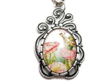 Fairy Necklace Shirley Poppy Necklace Flower Fairy Necklace Fairy Jewelry Mythology Necklace Flower Faeries Poppy Jewelry Fairy Gift