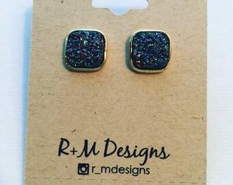blue natural druzy stud earrings