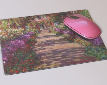 Fabric Mousepad, Mousemat, 5mm Black Rubber Base, 19 x 23 cm - The Garden Path at Giverny by Claude Monet Mousepad Mousemat