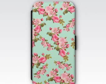 Wallet Case for iPhone 8 Plus, iPhone 8, iPhone 7 Plus, iPhone 7, iPhone 6, iPhone 6s, iPhone 5s - Vintage Pink Floral Patterned Wallet Case