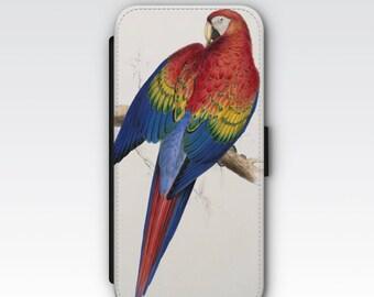 Wallet Case for iPhone 8 Plus, iPhone 8, iPhone 7 Plus, iPhone 7, iPhone 6, iPhone 6s, iPhone 5/5s - Parrot Illustration Case