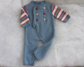 Hand knit cotton baby boy onesie. Size 1-3 months.