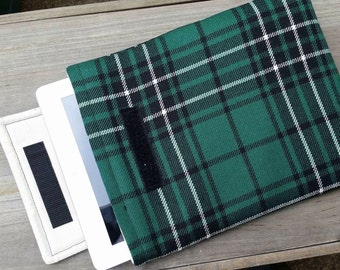 Green tartan lightly padded iPad sleeve / cover / case