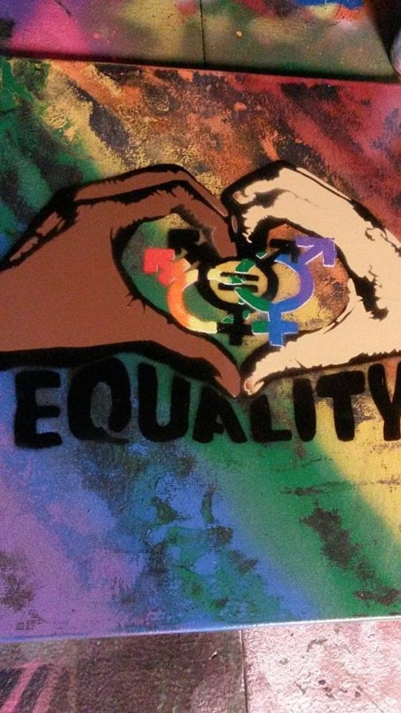 equality spray paint art on 16x20 canvas rainbow by. Black Bedroom Furniture Sets. Home Design Ideas