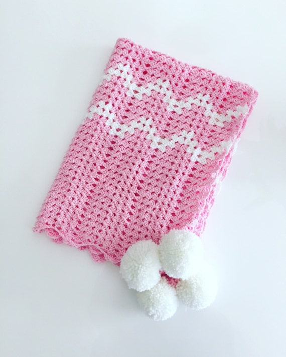Etsy Australia Baby Gifts : Items similar to made order baby blanket with pom poms