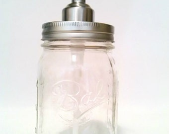Mason Jar Tapered Top Stainless Soap Dispenser Jar