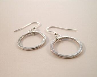 Sterling Silver Hoop Earrings - Hammered Silver - Small Hoops - Dangle Earrings - Handmade Earrings