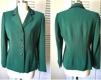 BL1121 Vintage Kasper ASL Sz 8 Emerald Green Women's Blazer