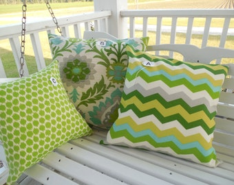 Lime Outdoor Pillow Cover Patio Porch Mint Julep Abstract Green Teal Chevron Floral Dot Decorative Throw Pillow Mix and  Match