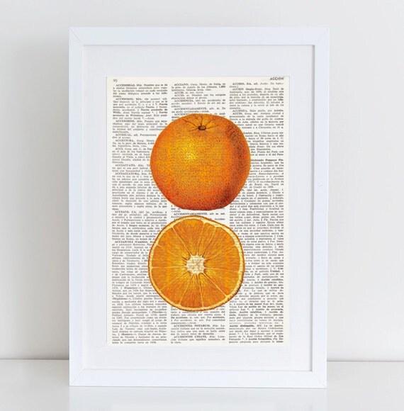 Kitchen Wall Decor Orange : Dictionary art print orange kitchen wall decor