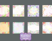 Watercolor Floral Frames, watercolor background, floral background, digital background  for instant download