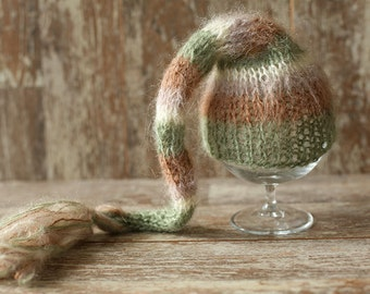 Knitted Newborn Elf Hat, Stripe Brown Ivory Green, Mohair Baby Girl Boy Hat, Munchkin hat, Knit baby hat, Photo prop, Photography,Beanie