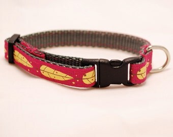 Pink and Yellow Leaves Cat Kitten Breakaway Collar