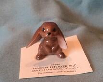 Hagen Renaker Lop-Eared Rabbit Figurine. Brown White Floppy Ear Bunny Rabbit Doll House Fairy Garden Forest Woodland Animal Farm Pet