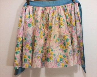 vintage floral half apron 1940s Swedish handmade apron adorable linen