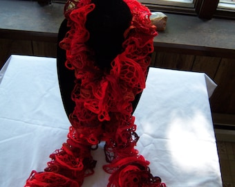 Ruffle scarf-red/orange-soft-lightweight