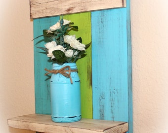 "Handmade Wall Mounted Shelf 17"" x 10-3/8"", Blue, Green, Aqua - Cottage, Seaside"
