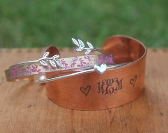 Personalized Cuff Bracelet, Monogrammed Cuff Bracelet, Copper Cuff Bracelet, Name Cuff, Initial Bangle