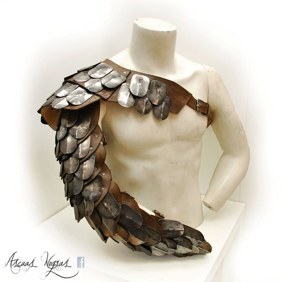 Gladiator Leather Shoulder Armor With Scalemaille. By