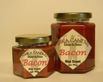 Small BACON CANDLE! 4oz jars Man Scents, man cave! Man candle for Father Husband Bacon Lover, Christmas gag gift, father's day gift