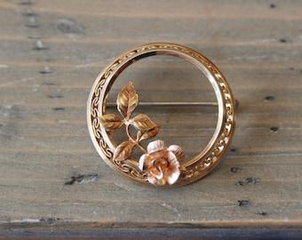 Vintage Krementz Gold Plated Flower Brooch