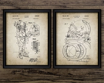Vintage Diving Equipment Patent Print Set Of 2 - Diving Suit - Diving Helmet - Diving Suit Design - Set Of Two Prints #622 -INSTANT DOWNLOAD