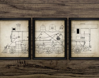 American Locomotive Triptych Print Set Of 3 - Steam Locomotive Design - Vintage Railroad - Set Of Three Prints #1056 - INSTANT DOWNLOAD