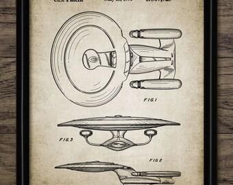 Star Trek USS Enterprise Galaxy Class Spacecraft Patent Print - Spacecraft Design Schematic - Single Print #1126 -INSTANT DOWNLOAD