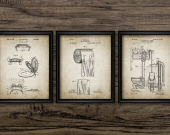 Bathroom Patent Print Set Of 3 - Toilet Roll - Cistern - Lavatory Design - Loo - Bathroom Art - Set Of Three Prints #1205 - INSTANT DOWNLOAD