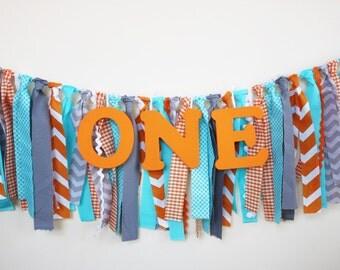 Gray, Orange, blue Highchair banner, 1st birthday boy, Woodland Friends High chair banner, Cake Smash Photo Prop