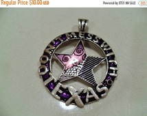 40% OFF SALE Don't Mess With Texas pendant, Silver tone, purple enamel, Texas star pendant, jewelry supplies, bold hipster Gingerslittlegems