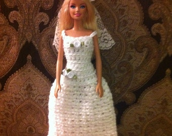 Barbie Wedding Dress, Barbie Veil, Barbie dress, Doll dress, Wedding Dress