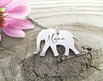 Mama Necklace, Mother necklaces, elephant necklace, Mama Elephant necklace, elephant jewelry, gift for mom, gift for her, silver elephant