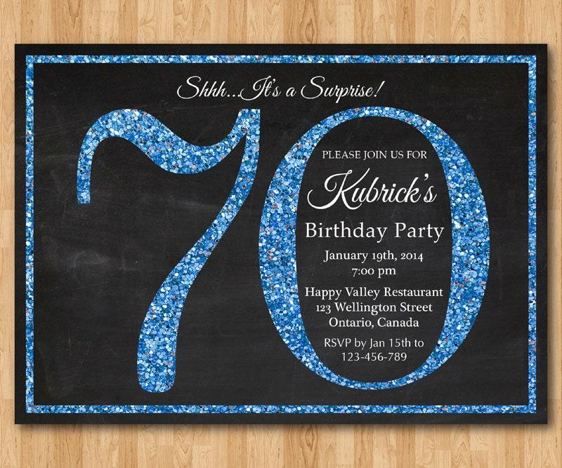 70th birthday invitation Blue Glitter Birthday Party invite – 90th Birthday Invitations Ideas