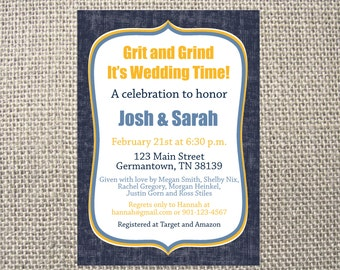 PRINTED or DIGITAL Grit and Grind Grizzlies Grizzly Memphis Wedding Bridal Shower Invitations 5x7 Customized Bridal Design 0.82 each