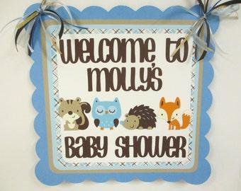 Woodland Animal Door Welcome Sign Banner Birthday Party Baby Shower Blue Brown Beige Fox Owl Squirrel Hedgehog Squirrel