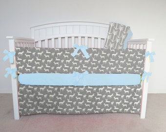 FREE SHIPPING - 4 Piece Crib Set - Gray deer and gray arrow crib set