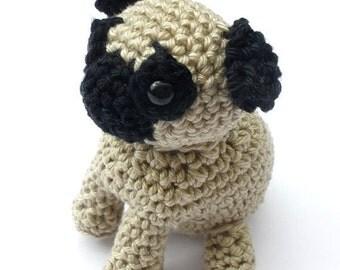 Pug Stuffed Animal, Crochet Pug Dog, Amigurumi Pug, pug lover gift