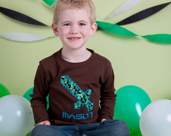 Boy's Gaming Sword Birthday Shirt with Number and Name