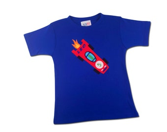 Boy Royal Blue Race Car Birthday Shirt with Name and Number