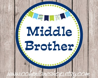 Instant Download Printable Middle Brother Tshirt Transfer Design. Big Brother Iron On.  Middle Brother Shirt. Middle Brother iron on.