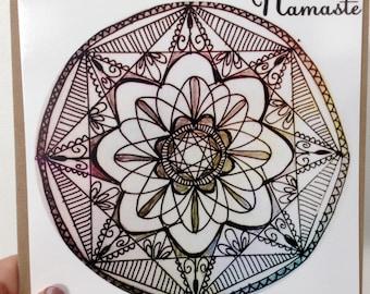 Namaste, flat greetings card