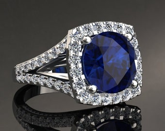 Diamond & Sapphire Halo Engagement Ring 10mm Round Brilliant Sapphire Center 1.52ct Round Natural Diamonds Birthstone Pristine Custom Rings