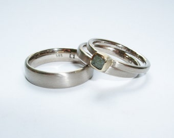 Wedding rings 585er white gold and a narrow stacking ring with diamond in the rough