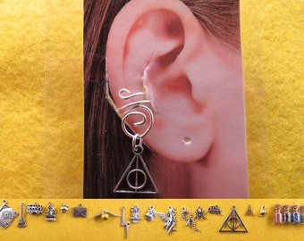 Wizard ear cuff with interchangeable charm/s.